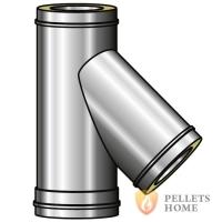 ТРОЙНИК 45° Versia Lux: элемент одностенного дымохода из нерж...